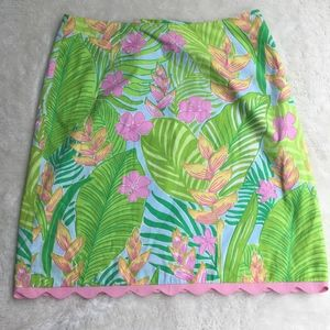 Lilly Pulitzer A Skirt Size 4 Pink Scallop Floral